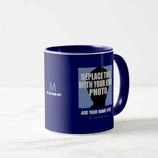 upload your own image, create blue photo mug