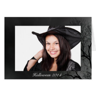 Upload Your Own Photo Spooky Halloween Tree Border Card
