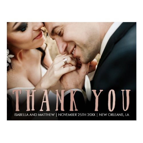 Upload Your Own  Rose Gold Thank You Photography Postcard