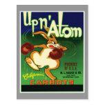 Up'n Atom Carrots Vintage Label Post Card
