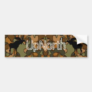 UpNorth Moose Silhouette Camo  Bumper Sticker Car Bumper Sticker