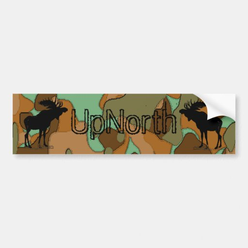 UpNorth Moose Silhouette Camo Lite  Bumper Sticker Car Bumper Sticker