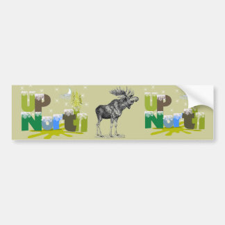 UpNorth Vintage Moose Car Bumper Sticker