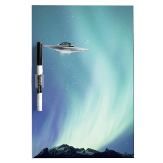 UPO spaceship with northern lights Dry-Erase Board