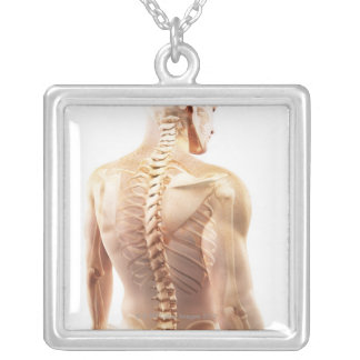 Upper Body Bones Silver Plated Necklace