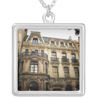 Upper East Side Building, New York City. Square Pendant Necklace