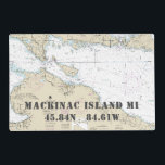 "Upper Michigan Latitude Longitude Nautical Chart Placemat<br><div class=""desc"">These authentic nautical chart place mats are a great alternative to the traditional &#39;Home Sweet Home&#39; sentiment while retaining a &#39;traditional&#39; or &#39;old world&#39; feel. Featuring the official chart showing Mackinac Island, Michigan, and the latitude and longitude of Round Island Passage Light lighthouse (built in 1894) , they are as...</div>"