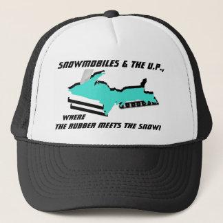 UPPER MICHIGAN morphs into SNOWMOBILE ~ HAT! Trucker Hat