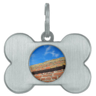 Upper part of the stone wall of bricks against a b pet name tag