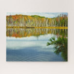 """Upper Peninsula Autumn Colors Nature Photography Jigsaw Puzzle<br><div class=""""desc"""">This nature photography captures the beautiful Autumn colors and birch trees reflecting in the blue water of a pond in the Upper Peninsula of Michigan,  USA.</div>"""