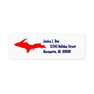 Upper Peninsula Michigan UP Return address Label