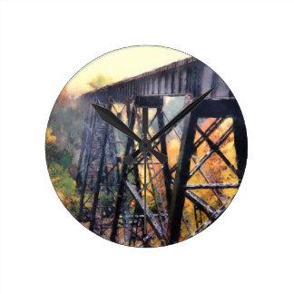 Upper Peninsula Train Trestle Round Clock