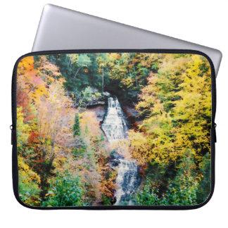 Upper Peninsula Waterfall In Autumn Computer Sleeve