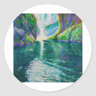 Upper Punchbowl Waterfall, Oregon Classic Round Sticker