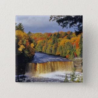 Upper Tahquamenon Falls in UP Michigan in autumn Button