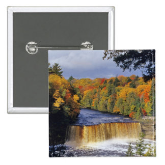 Upper Tahquamenon Falls in UP Michigan in autumn Button