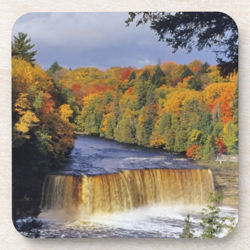 Upper Tahquamenon Falls in UP Michigan in autumn Beverage Coasters