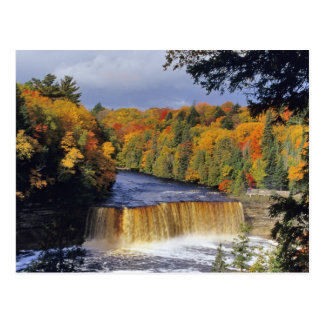 Upper Tahquamenon Falls in UP Michigan in autumn Postcard