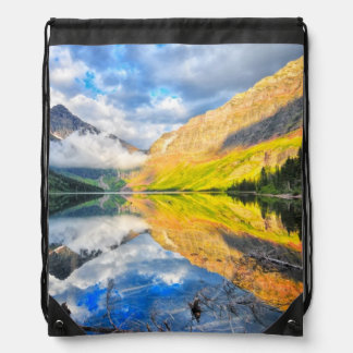 Upper Two Medicine Lake at Sunrise Drawstring Bags