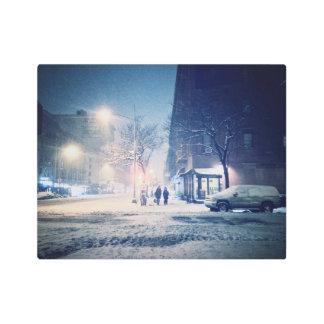 Upper West Side Winter Night Metal Photo Print