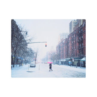Upper West Side Winter Snowstorm Metal Photo Print