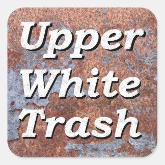 Upper White Trash on a Rusty Square Square Sticker