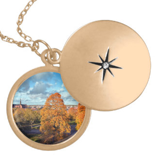 Uppsala Sweden Fall Scenic Picture Personalized Necklace
