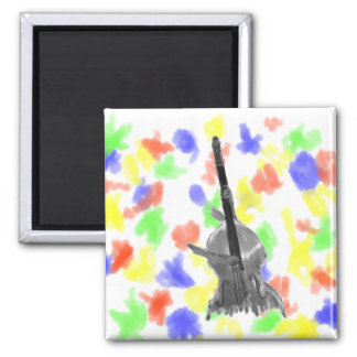 Upright acoustic bass being played by two hands 2 inch square magnet