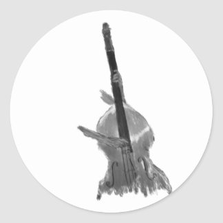 Upright acoustic bass being played by two hands classic round sticker