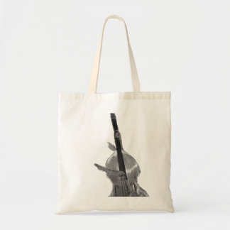 Upright acoustic bass being played by two hands tote bag