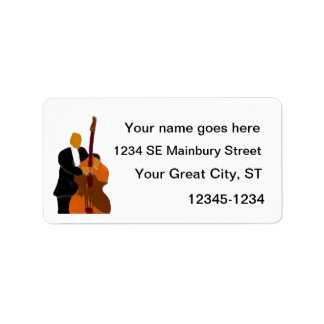 Upright acoustic bass player painting personalized address label