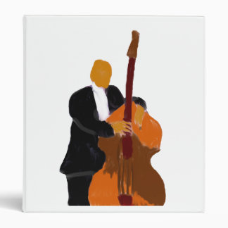 Upright acoustic bass player painting, original 3 ring binder