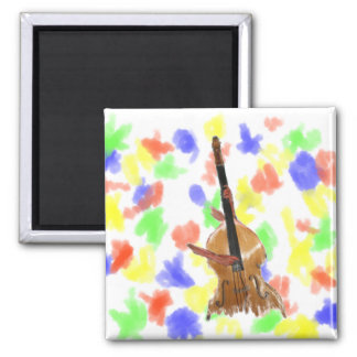 Upright acoustic bass with hands musician 2 inch square magnet