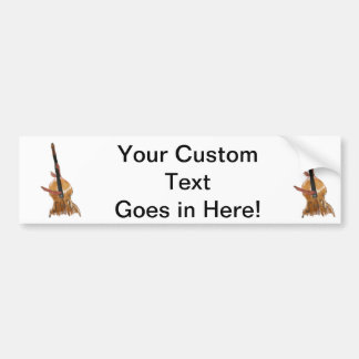 Upright acoustic bass with hands musician car bumper sticker