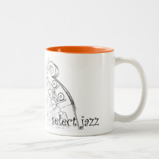 Upright bass jazz coffe mug. Two-Tone coffee mug