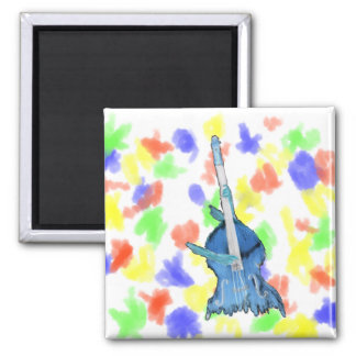 Upright bass, played by two hands, blue inversion 2 inch square magnet