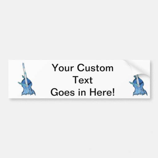 Upright bass, played by two hands, blue inversion bumper sticker