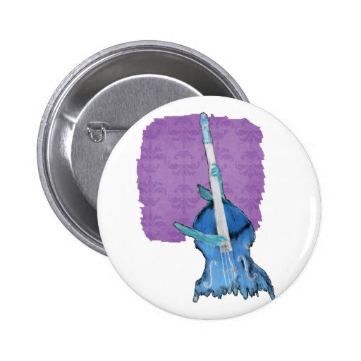 Upright bass, played by two hands, blue inversion pinback buttons