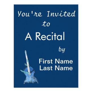 Upright bass played by two hands blue inversion custom invitations