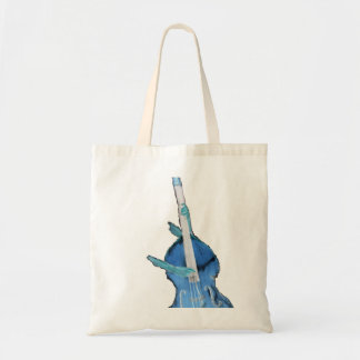 Upright bass, played by two hands, blue inversion tote bag