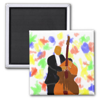 Upright bass player, full body black suit 2 inch square magnet