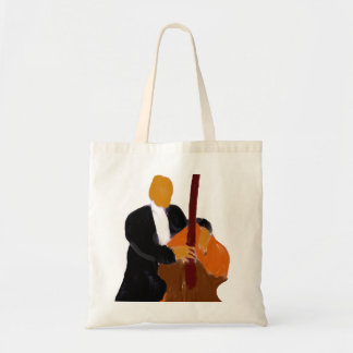 Upright bass player, full body black suit tote bags