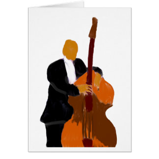 Upright bass player, full body black suit card