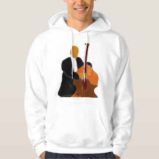 Upright bass player, full body black suit hoodie