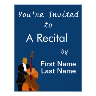 Upright bass player full body black suit invite