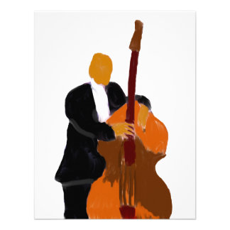 Upright bass player full body black suit invites
