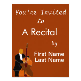 Upright bass player full body black suit invitation