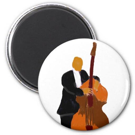Upright bass player, full body black suit fridge magnet