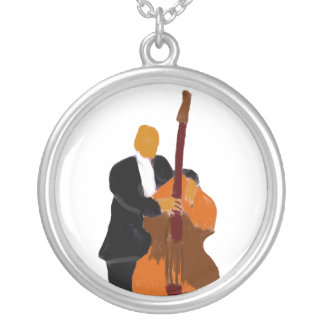 Upright bass player, full body black suit custom necklace