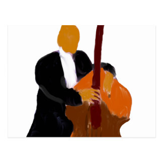 Upright bass player, full body black suit postcard